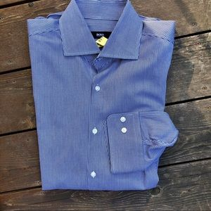 Hugo Boss cotton shirt navy white check